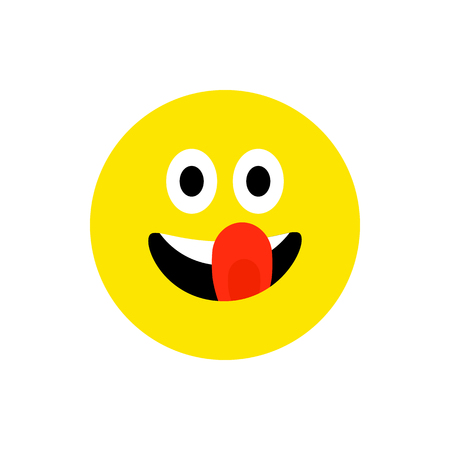 Happy face smiling emoji with open mouth. Funny Smile flat style. Cute Emoticon symbol. Smiley, laugh icon. For app, messenger. Playful, hungry cartoon avatar on white backdrop. Vector illustration Standard-Bild - 120534343