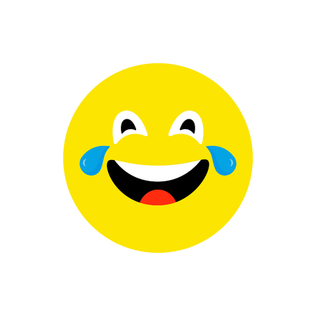 Happy face smiling emoji with open mouth. Funny Smile flat style. Cute Emoticon symbol. Smiley, laugh icon. For mobile app, messenger. Expressive cartoon avatar on white backdrop. Vector illustration