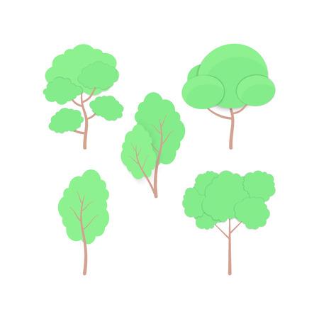Set di cartone animato Alberi carta tagliata in stile artigianale alla moda. Elementi naturali di alberi, siepi e cespugli per paesaggi stagionali, biglietti, web, banner di auguri. Icone per il branding, copertina, poster.