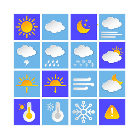 Weather forecast info icon collection layered style. Climat weather elements. Modern button for Metcast WF report, meteo mobile app, business template, marketing, web. Banque d'images - 120534361