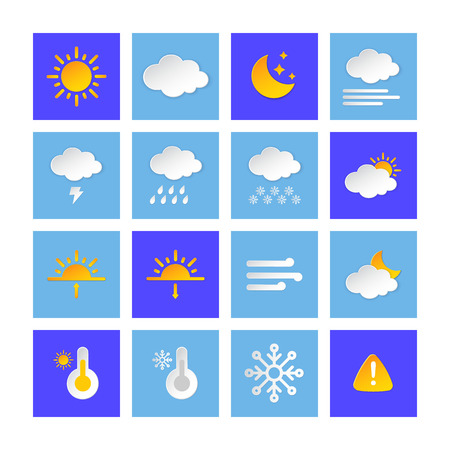 Weather forecast info icon collection layered style. Climat weather elements. Modern button for Metcast WF report, meteo mobile app, business template, marketing, web. Stock Vector - 120534697