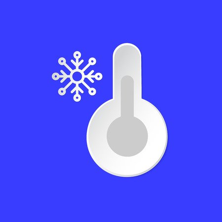 Thermometer, temperature emblem. Snowy Day Weather info icon. Snowflake and Barometer sign paper cut style on blue. Climate weather symbol. For Metcast report, meteo app, web.