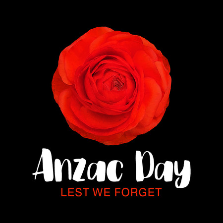 Anzac Day memorial poster. Lest We Forget lettering. Red Poppy flower International Remembrance Day symbol of peace. Military parade banner, card with a text place. Article, print. Vector Illustration Illustration