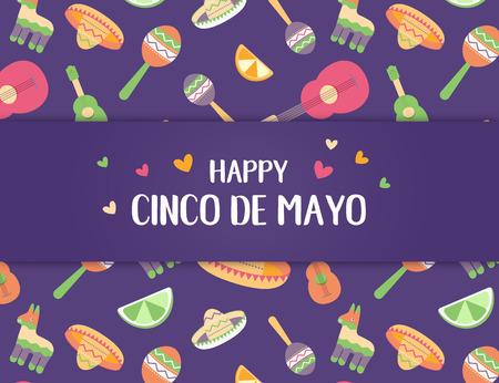 Cinco de Mayo Mexican festive banner. Horizontal poster of Mexican culture symbols collection: maracas, pinata, jalapeno, lemon fruit, sombrero, guitar. Cinco de Mayo web header. Vector illustration Standard-Bild - 122790769