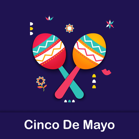 Cinco de Mayo Mexican festive banner. May 5 Federal holiday in Mexico. Fun poster of Latin culture symbol maracas, tribal imagery. Cinco de Mayo paper cut web tag, Fiesta card. Vector illustration