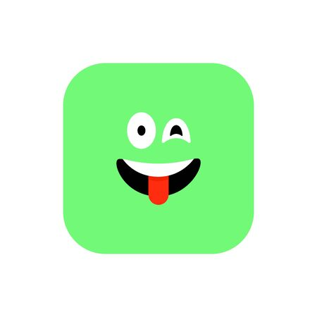 Happy Emoji icon flat style. Cute Emoticon rounded square to World Smile Day. Cheerful, Lol, Enjoying Face. Colorful Smile for mobile app, messenger. Expressive avatar.