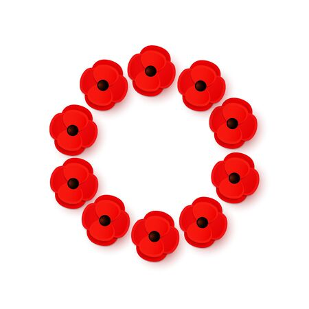 Remembrance Day Poppy Wreath with a place for text. Bright Poppy flower symbol of peace. Lest We Forget.