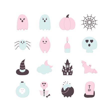 Halloween set Paper style. Pastel colored Helloween party icon. Traditional Halloween ghost, pumpkin, haunted house, bat, tomb, skull, spider web.