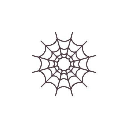 Evil Spiderweb Halloween icon. Devil Cobweb tissue sign. Cartoon flat style. Traditional symbol of Halloween and drug addiction isolated on white. For cards, seasonal posters.