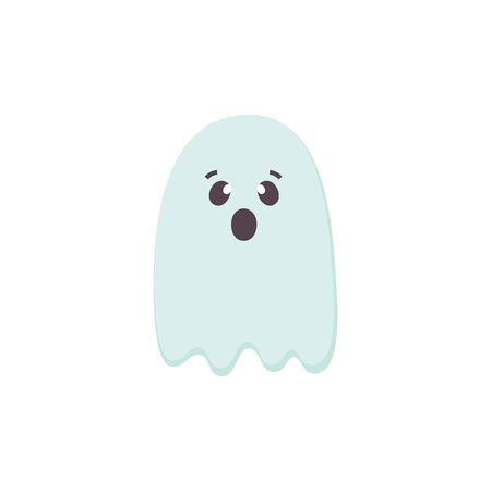 Cute scared Halloween Ghost icon. Blue color Cartoon character for Helloween holidays. Printable flat style. Traditional symbol of Halloween isolated on white. For seasonal cards.