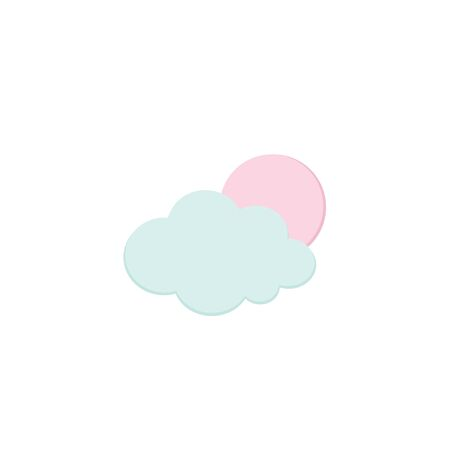 Cute Full Moon and Cloud icons isolated on white. Cartoon Weather and Halloween traditional symbols. Soft Pink and Blue colors. Printable flat style. For seasonal cards, stickers. Stock Illustratie