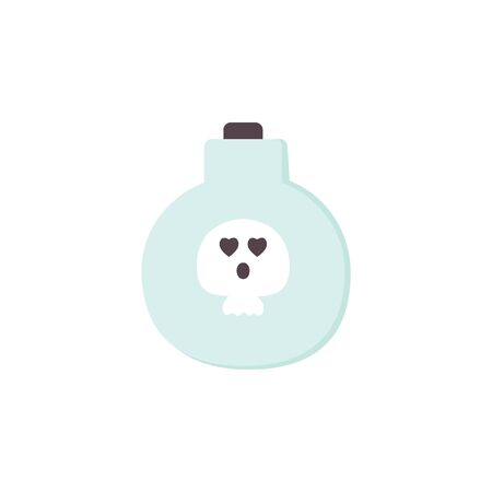 Full Potion Bottle with a poison and Skull icon. Traditional symbol of Halloween isolated on white. Blue Cartoon character. For Holidays cards, stickers, wallpaper