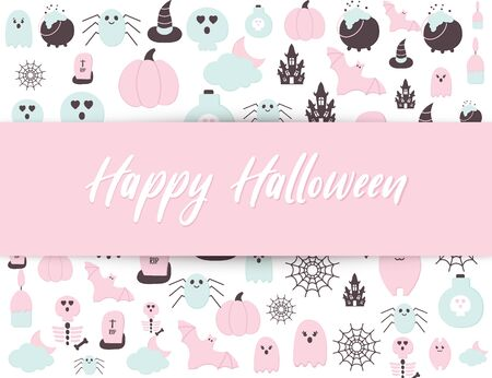 Happy Halloween cute poster with Helloween party icons and text. Pastel Pink Blue color Halloween scary ghost, pumpkin, haunted house, bat, tomb, skull, spider net. Seasonal. Banque d'images - 131488097