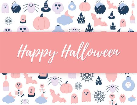 Happy Halloween cute poster with Helloween party icons and text. Pastel Pink Blue color Halloween scary ghost, pumpkin, haunted house, bat, tomb, skull, spider net. Seasonal. Banque d'images - 131491184