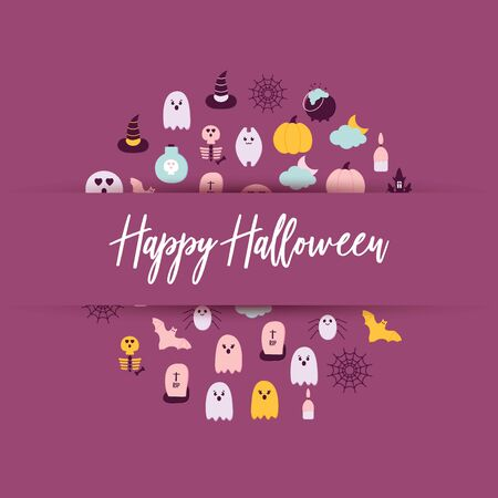 Happy Halloween circle banner with a Lettering. Flat style Halloween icons scary ghost, pumpkin, witch hat, bat, potion bottle, skull, skeleton, spider net, cat. Printable Seasonal Vector illustration Banque d'images - 131732939