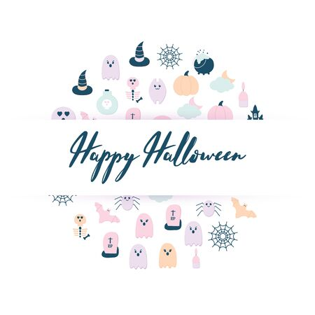 Happy Halloween banner with a Lettering. Flat style Halloween icons scary ghost, pumpkin, witch hat, bat, potion bottle, skull, skeleton, spider net, cat.