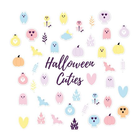 Halloween Stickers Collection Paper cut style with shadow. Pastel colors Pink Halloween party icons. Cute ghost, pumpkin, haunted house, bat, skull, skeleton. Craft characters. Vector Illustration EPS Ilustração