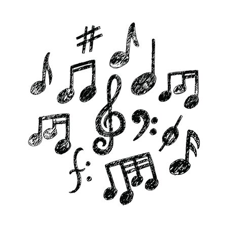 Hand drawn Music Notes icon Set. Sketchy cartoon musician sign in childish doodle style. Real Pencil drawing. For musical school lessons, stickers, textile print, texture. Vector illustration EPS file