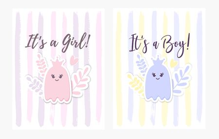 Baby Shower Set. Its a Girl, Its a Boy card with a baby Ghost, Crown, flowers. Cute Baby Arrival announcement, lettering. Kids nursery decor. Halloween childish party greeting postcard. Vektoros illusztráció