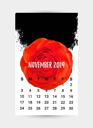 Vector Remembrance Day Calendar Page. Red Poppy flower - International symbol of peace. November month. Memorial banner, poster, flyer layout, brochure, frame, social header