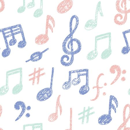 Vector Hand drawn Music Notes icon Seamless Pattern. Sketchy cartoon musician sign in childish doodle style. Pencil drawing. Musical school lessons, stickers, textile print, texture. White copybook Stock Illustratie