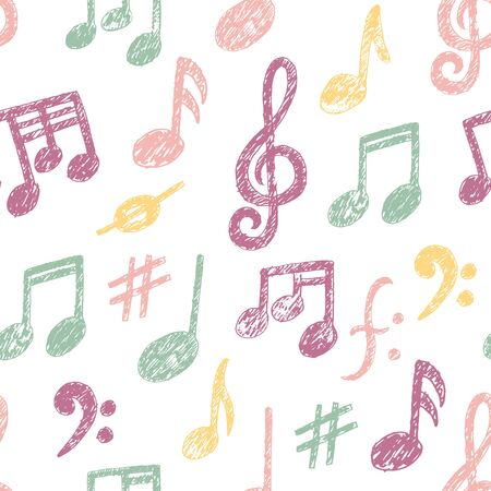 Vector Hand drawn Music Notes icon Seamless Pattern. Sketchy cartoon musician sign in childish doodle style. Pencil drawing. Musical school lessons, stickers, textile print, texture. White copybook Illustration