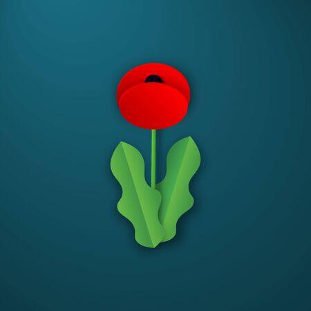 Vektor-Gedenktag Mohnblume. Anzac-Tag. Scherenschnitt Red Poppy - Internationales Friedenssymbol. Gedenkbanner, Webposter mit Platz für Text. Einladung, Bastel-Origami-Druck