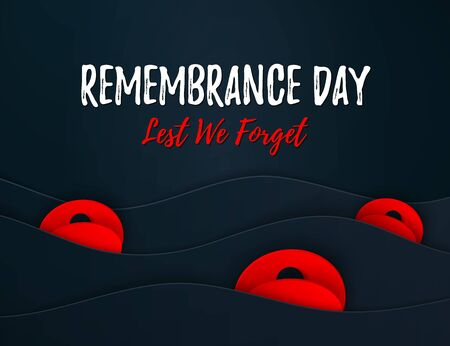 Vector Remembrance Day web layered banner. Paper cut Red Poppy flower International symbol of Peace. Anzac, Memorial, Veterans Day header, card, poster, flyer, invitation. Military parade Stok Fotoğraf - 133802027