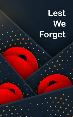 Black layers Vector Lest We Forget card. Craft Red Poppies Field Remembrance Day banner. Papercut Poppy flower peace symbol. Anzac, Memorial, Veteran header. Military lettering