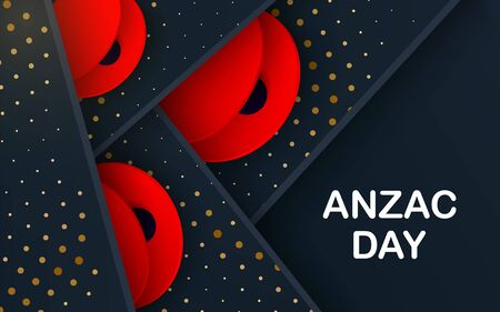 Black layers Vector Lest We Forget card. Craft Red Poppies Field Anzac Day banner. Papercut Poppy flower peace symbol. Anzac, Memorial, Veteran header. Military lettering Illusztráció