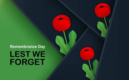 Vector Lest We Forget. Craft Red Poppies Field Remembrance Day banner. Papercut Poppy flower peace symbol. Anzac, Memorial, Veteran header, card, poster, flyer, invitation. Military parade. Lettering 版權商用圖片 - 133802048