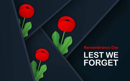 Vector Lest We Forget. Craft Red Poppies Field Remembrance Day banner. Papercut Poppy flower peace symbol. Anzac, Memorial, Veteran header, card, poster, flyer, invitation. Military parade. Lettering