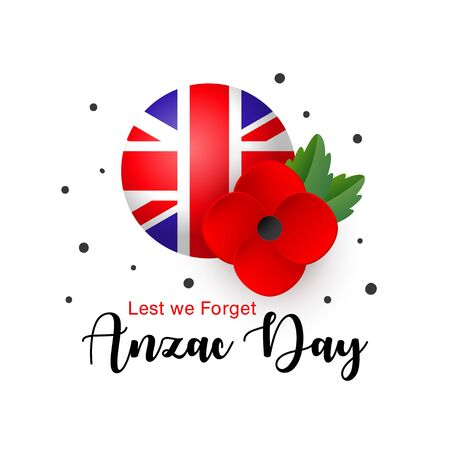 Vector Anzac Day card. Lest We Forget. Realistic Red Poppy flower and Flag of the United Kingdom of Great Britain and Northern Ireland. Tag, mark, sticker - poppy appeal. Memorial Day. Illusztráció