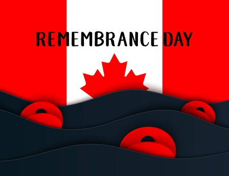 Vector Remembrance Day web layers banner. Canadian Red Poppy flower symbol of Peace. Anzac, Memorial, Veterans Day header, card, poster, flyer, invitation. Military parade Illusztráció