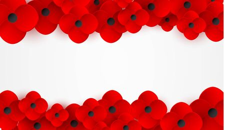 Remembrance, Anzac Day web header. Poppies flowers. Memorial banner, card.