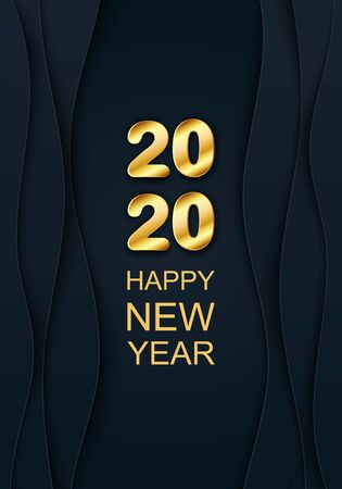 Vector 3d 2020 golden text. Chic Merry Christmas and Happy New Year Paper cut art banner on dark cover. Shiny layout for Xmas holiday