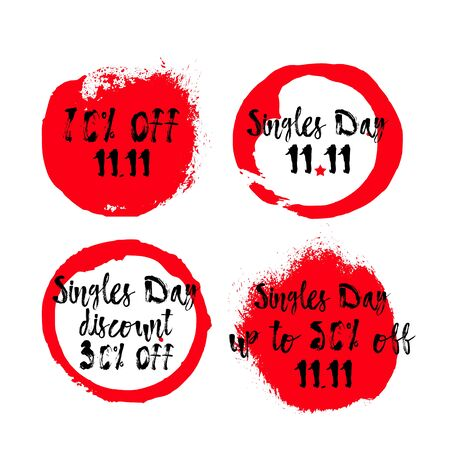 Vector Singles Day Sale Tags. 11th November Shopping Festival discount card. Chinese promotional badges. Messy Lettering. Social media sticker