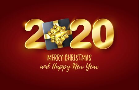 Vector 3d 2020 golden text. Chic Merry Christmas and Happy New Year banner with Gift Box on red cover. Shiny layout for Xmas holiday Illusztráció