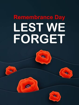 Vector Remembrance Day web layered banner. Paper cut Red Poppy flower International symbol of Peace. Anzac, Memorial, Veterans Day header, card, poster, flyer, invitation. Military parade
