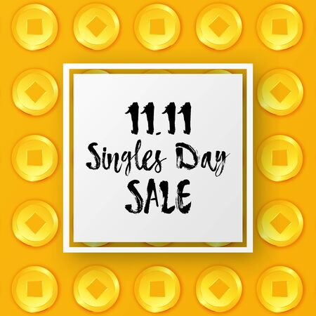 Vector Singles Day Sale banner with Chinese Coin frame. 11th November Shopping Festival discount flyer. Chinese promotional poster. 3D Oriental money. Social media layout, greeting card