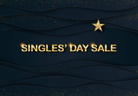 Vector Singles Day Sale banner with Gold 3D Star. Papercut 11.11 Shopping Festival flyer, Header. Chinese poster. 3D frame. Web Social media layout, invitation card Illusztráció