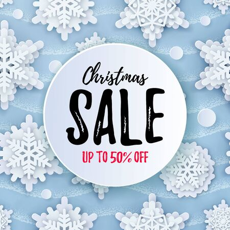 Vector EPS Christmas SALE up yo 50 OFF poster. Papercut Christmas Snowflakes pattern on blue. Seasonal bargain advert for article, shopping sales, voucher, add, deals layout