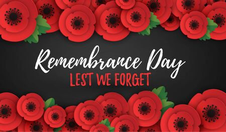 Remembrance, Anzac Day web header. Poppies flowers. Memorial banner, card. Stok Fotoğraf - 133801996