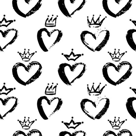Vector Seamless Pattern of Crowns and Hearts. Messy Baby Princess and Prince crown, heart for kids room, child decor print, scrapbook. Linear doodle art on white background
