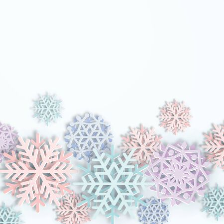 Vector cover with Paper cut art Snowflakes. Layered realistic snow flake winter 3D icons. Xmas, New Year header, business greeting card, invitation, article Illusztráció