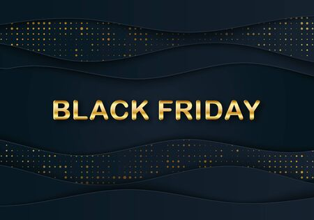Vector elegant Black Friday Sale banner with 3D Papercut wave. Shiny Gold discount web header. Paper layers and golden glittering halftone pattern. Text place. Vector business illustration Illusztráció