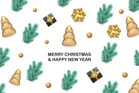 Vector illustration of Merry Christmas and Happy New Year greeting banner with decorative ginger biscuit Christmas tree, Gift box, gold Bow, pine, spruce branches
