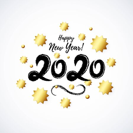 2020 hand written lettering decorated with realistic Golden 3D Stars isolated on white background. Glossy Christmas stars icon. Concept design for Happy New Year, Xmas holidays. Vector illustration