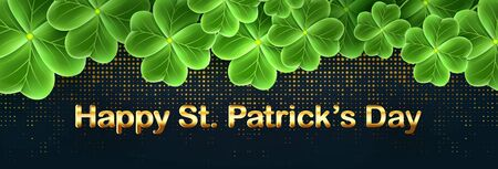 San Patricks Day card with Clover leaf. Shamrock grass wallpaper. Horizontal holidays poster. Lucky Irish flower striped texture. Scottish ornament.