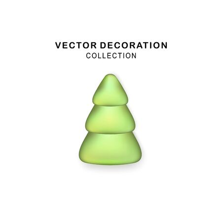 Vector Stylized Green Christmas tree with realistic shadow. Abstract Christmas tree. Glittering icon for Xmas, New Year, Noel card. Button with metal texture for user interface, UI, application, app